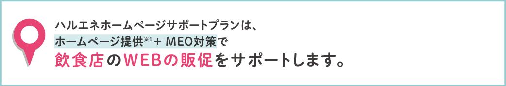 ハルエネホームページサポートプランは、ホームページ提供(※1)+MEO対策で飲食店のWEB販促をサポートします。